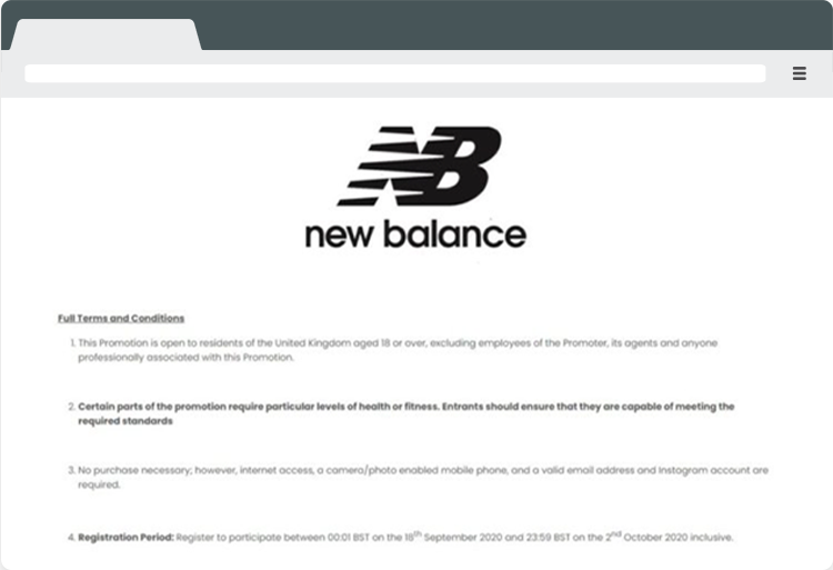 New Balance Promotional terms