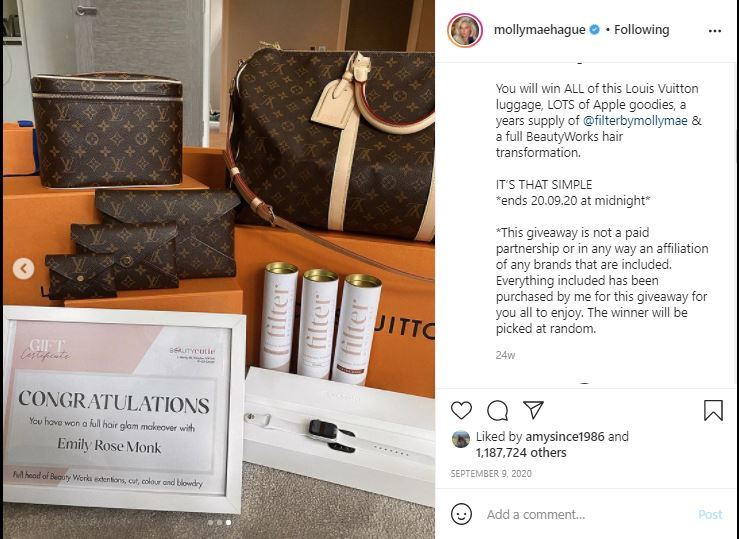 molly mae instagram giveaway