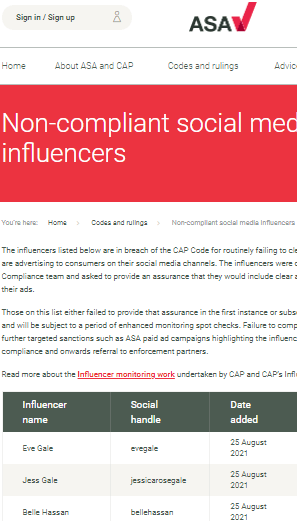 ASA Influencer Compliance